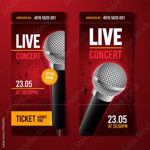 Vektor Illustration Konzert Festival Party Event Ticket Vorlage mit ...