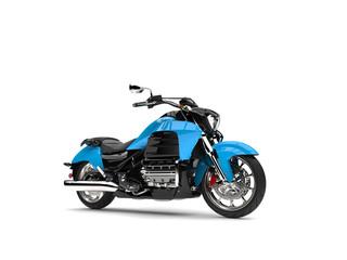 Powerful modern blue chopper motorcycle