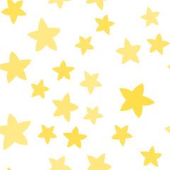 Seamless pattern with stars. Different sizes and tones. Yellow stars on the white background.