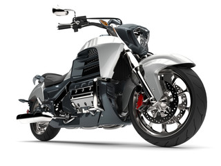 Metallic slate grey and silver modern powerful motorcycle