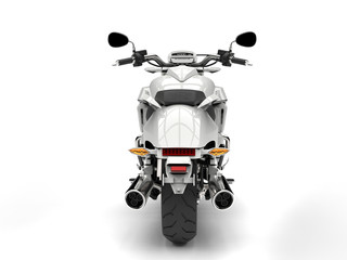 Cool white powerful motorcycle - back view