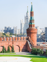 Helipad on the territory of the Moscow Kremlin. In the background Stalin's skyscraper