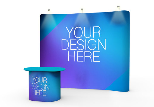 Exhibition Display Stand and Lighted Screen Mockup