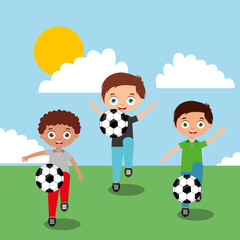 kids playing with soccer balls in field cartoon vector illustration