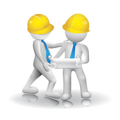 Logo 3d Architects workers white men people icon image vector
