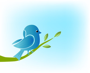 Blue bird on branch tree vintage vector background image picture