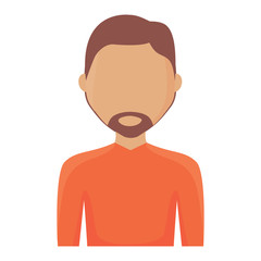 avatar man with beard icon over white background, colorful design. vector illustration
