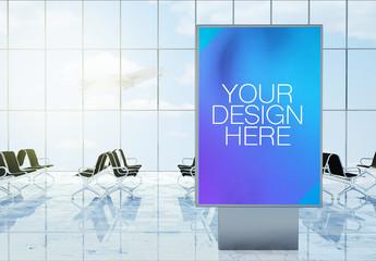 Advertisement Kiosk Mockup in 3D Rendering Airport Terminal