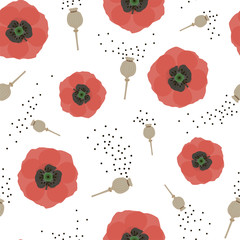 Floral seamless pattern with red poppies and seeds. Vector.