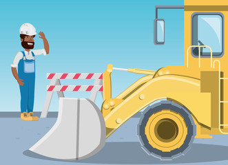 Under construction zone with builder and excavator truck over blue background, colorful design vector illustration