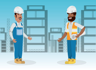 Under construction zone with engineers talking over blue background, colorful design vector illustration