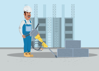 Under construction zone with builder holding a floor drill over blue background, colorful design vector illustration