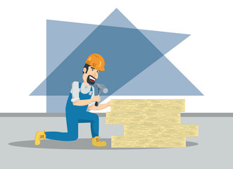 cartoon builder hitting a wooden board with a hammer tool over white background, colorful design vector illustration
