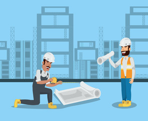 Under construction zone with enginners with blueprints over blue background, colorful design vector illustration
