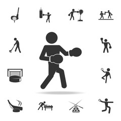 Boxer icon. Silhouette of an athlete icon. Detailed set of athletes and accessories icons. Premium quality graphic design. One of the collection icons for websites, web design