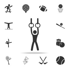 Gymnast performing on stationary rings icon. Detailed set of athletes and accessories icons. Premium quality graphic design. One of the collection icons for websites, web design