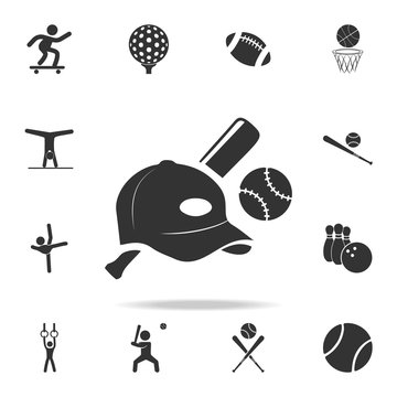 baseball ball cap and bit icon. Detailed set of athletes and accessories icons. Premium quality graphic design. One of the collection icons for websites, web design, mobile app
