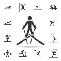 Skiing icon. Detailed set of athletes and accessories icons. Premium quality graphic design. One of the collection icons for websites, web design, mobile app