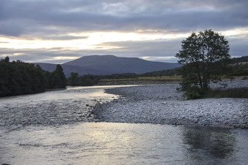 River Dee and Royal Deeside near Braemar, Aberdeenshire, Scotland, United Kingdom. September 2017