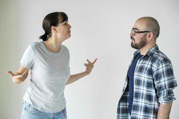 White couple having an argument