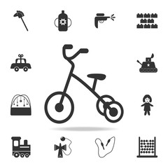 Tricycle icon. Detailed set of baby toys icons. Premium quality graphic design. One of the collection icons for websites, web design, mobile app