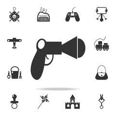gun toy wirh balls icon. Detailed set of baby toys icons. Premium quality graphic design. One of the collection icons for websites, web design, mobile app