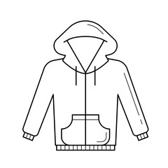 Sweater vector line icon isolated on white background. Casual hoodie sweater line icon for infographic, website or app.