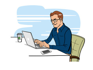 Man people working with laptop on desk. flat vector cartoon character design. illustration hand drawn style.