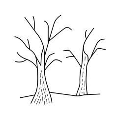 Dry trees vector line icon isolated on white background. Global warming line icon with dry tree for infographic, website or app. Deforestation and global warming concept.