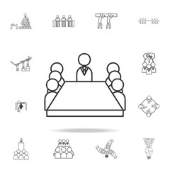 Board room members sitting around a table icon. Detailed set of team work outline icons. Premium quality graphic design icon. One of the collection icons for websites, web design