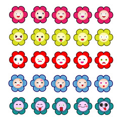 set of cute flower with emoticons