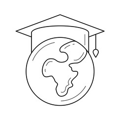 Globe in graduation cap vector line icon isolated on white background. Graduation hat on the world globe line icon for infographic, website or app. Study abroad concept.