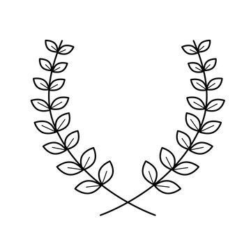 Laurel wreath vector line icon isolated on white background