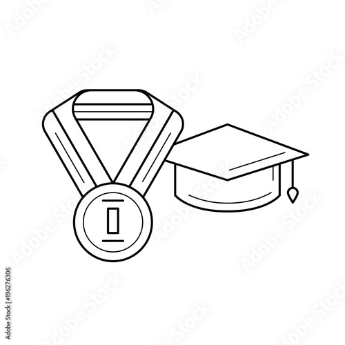 c9ceb360cd0 Best student vector line icon isolated on white background. Graduation cap  and medal of best student line icon for infographic