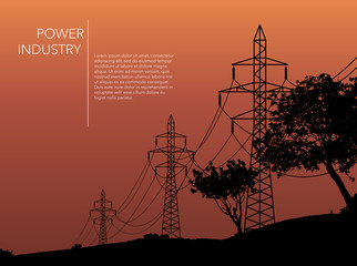 Transmission towers orange landscape background vector
