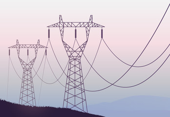 Transmission towers landscape background vector