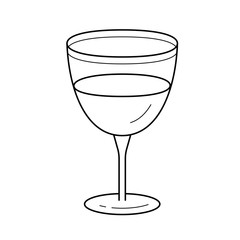Wine glass line icon isolated on white background. Vector line icon of wine glass for infographic, website or app.