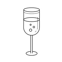 Champagne glass line icon isolated on white background. Vector line icon of glass of champagne with bubbles for infographic, website or app.