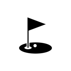 Golf hole and flag vector icon