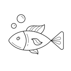 Raw fish line icon isolated on white background. Vector line icon of healthy seafood - fish under water for infographic, website or app. Healthy protein food concept.