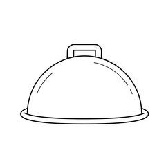 Cloche with platter for serve vector line icon isolated on white background. Covered dish line icon for infographic, website or app.