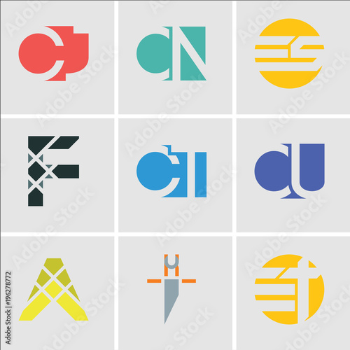 Set Of 9 simple editable icons such as Et tE, hi ih, A, CU