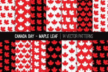 Canadian Maple Leaf Seamless Vector Patterns in Red, Black and White. Canada Day July 1st Party Celebration Backgrounds. Pattern Tile Swatches Included.