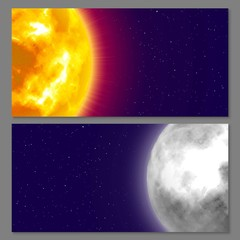 Two cards with celestial bodies moon and sun, night background, cartoon style. Flyers and posters on space theme, design for all. Vector background on astronomical matter
