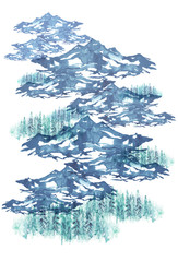 Watercolor painting. Nature, mountains, countryside, blue silhouette of mountains, Coniferous forest, trees, pines. Postcard, picture, poster, logo. Graphic, vintage drawing. Isolated