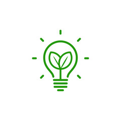 lightbulb with leaves linear icon, renovable energy