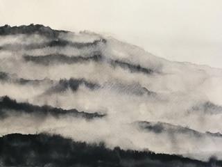 watercolor landscape mountain fog. asia art style.