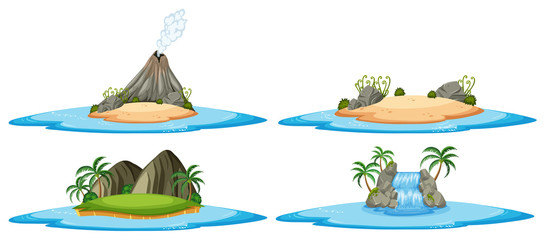 Four nature scene with islands and ocean