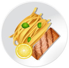 Salmon and pasta on white plate