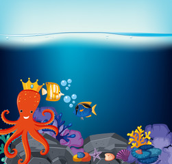 Underwater scene with octopus and fish